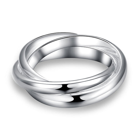 Christmas Gift Wholesale Mens Silver Ring Fine Fashion 925 Jewelry Three Circles Rings For Women Top Quality