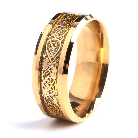 8mm gold color carbon fiber dragon 316L Stainless Steel rings for men women wholesale