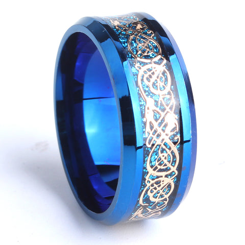 8mm blue carbon fiber gold color dragon wedding rings for men 316L Stainless Steel women wholesale