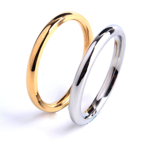 2mm gold silver Smooth wedding rings for women 316L Stainless Steel wholesale