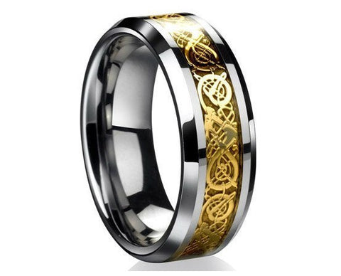 Valentine's Day Vintage Chinese Dragon stanless steel gold color Ring for Men lord Wedding Band new punk ring