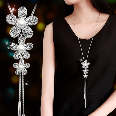 RAVIMOUR Long Necklaces & Pendants Silver Color Chain Imitated Pearl Jewelry 3 Flowers Maxi Necklace for Women Fashion Collier