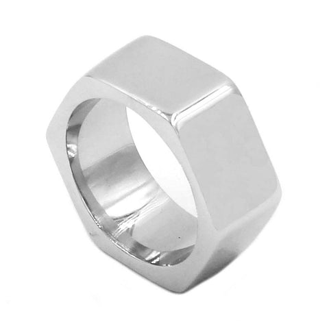 Fashion Screw Band Biker Ring Stainless Steel Jewelry High Polishing Silver Hexagonal Motor Biker Mens Ring Wholesale SWR0737B