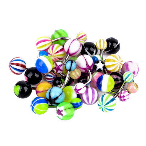 110pcs Stainless Steel Acrylic Body Tongue Bar Lip Nose Hoop Septum Ear Ring Belly Button Body Jewelry