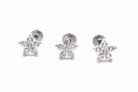 10pcs pment Surgical Steel CZ Flowers Labret Lip Ring Nose/Ear Helix Bar Cartilage earring tragus ring 16G