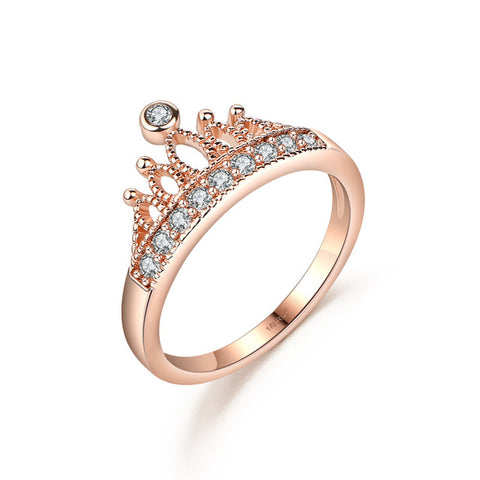 DROLE Rose Gold Color Crown Zircon Engagement Cute Wedding Party Ring for Women Fashion Jewelry