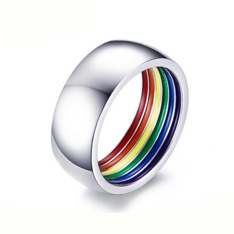 EAMIOR Fashion Individual Style LGBT Rainbow Men gay Pure White Stainless Steel ring European American holiday gift Jewelry