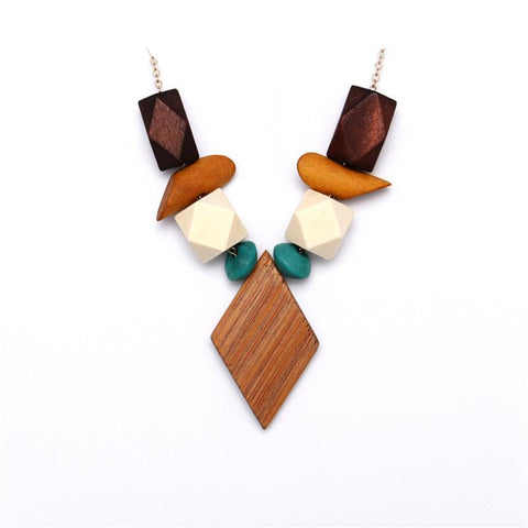 Multicolor Geometric Wood Pendant Necklace