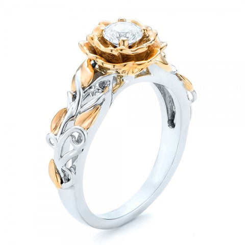 New Fashion Gold Silver Flower Shaped Promise Rings for Women Wedding Engagement Party Jewelry