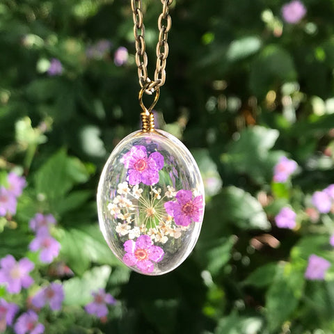 SEDmart Colorful Real Dried Flower Glass Crystal Pendant Necklace Vintage Bronze Chain Sweater Necklace For Women Jewelry Gifts