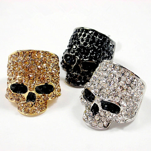 Brand Skull Rings For Men Rock Punk Uni Crystal Black/Gold Color Biker Ring Male Fashion Skull Jewelry Wholesale