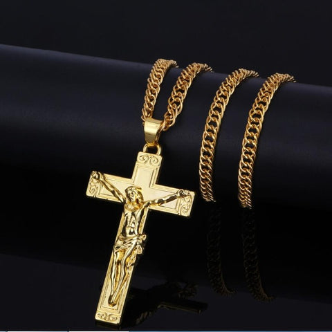New Hip Hop Gold/Silver Plated Vintage Jesus Cross Pendant Necklace Chain Men Jewelry