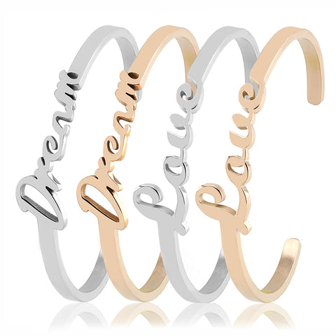 "Valentines Day Gift ""Dream""/""Love"" 316L Stainless Steel Bracelet Bangles Fashion Cuff Bracelet For Women Jewelry Gift For Girls"