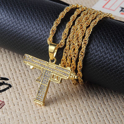 New Full Rhinestone Uzi Gun Cross Pendant Necklaces Long Cuban Link Chain Fashion Necklace For Uni Hip Hop Jewelry