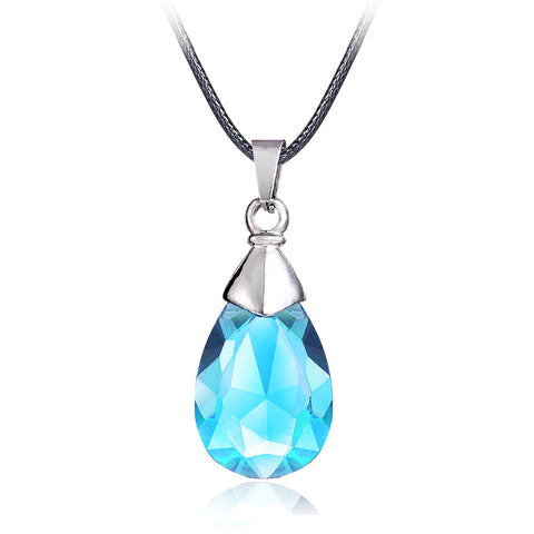 Hot Anime SAO Sword Art Online Metal Necklace Yui's Heart Blue Crystal Pendant Cosplay Accessories Jewelry can -shipping