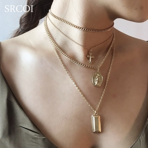 SRCOI Bohemia Gold Color Cross Layered Necklace Jesus Virgin Mary Chain Pendant Necklace Easter Day's Gift For Women Jewelry