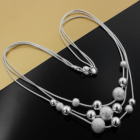 New charm silver plated jewelry classic high-quality Three chain light sand beads necklace N020 Kinsle