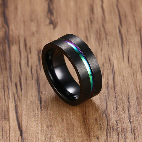 8MM Black Titanium Ring For Men Women Wedding Bands Trendy Rainbow Groove Rings Jewelry USA Size