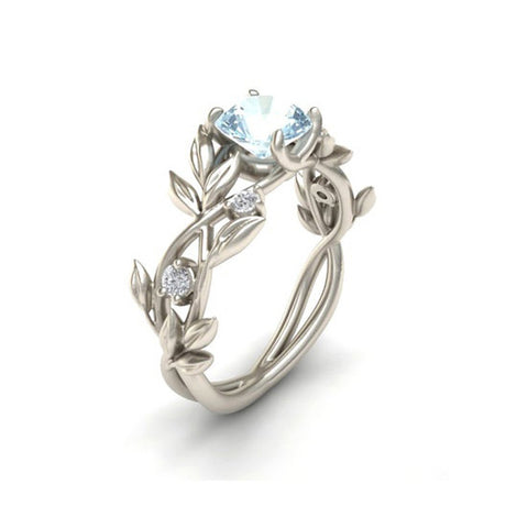 Fashion Silver Color Crystal Flower Vine Leaf Design Rings For Women Femme Ring Vintage Statement Jewelry Lover Gift