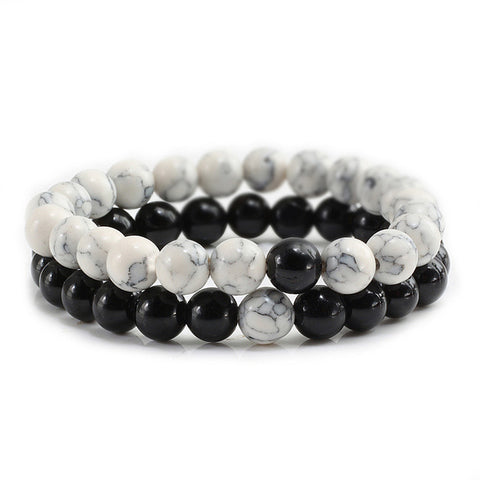 2 Pcs/Set Trendy Couples Distance Bracelet Men White and Black Natural Stone Yin Yang Beaded Bracelets for Women Lovers Jewelry