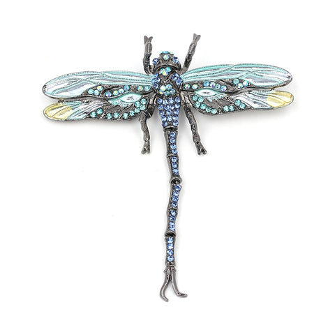 Fashion Jewelry For Women Animal & Insect Crystal Brooch Accessories Vintage Crystal Dragonfly Brooches Wholesale O2202-1