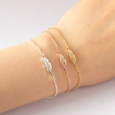Vintage Feather Leaf Bracelets Women's Fashion Charms Jewelry Pulseras Stainless Steel Gold Filled Chain Bracelet Femme
