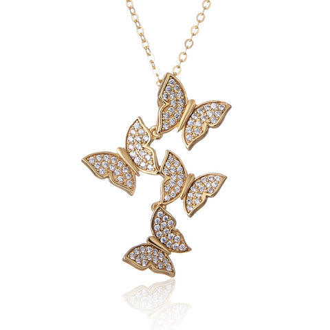 Real 925 silver animal butterfly necklaces pendant -silver-jewelry statement necklace for Women