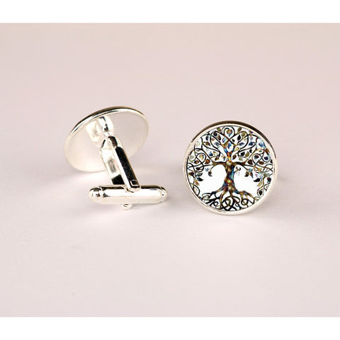 Luxury Brand Cufflinks with Silver/Bronze Plated Glass Cabochon Tree of life Pattern Novelty Cufflinks for Men Wedding