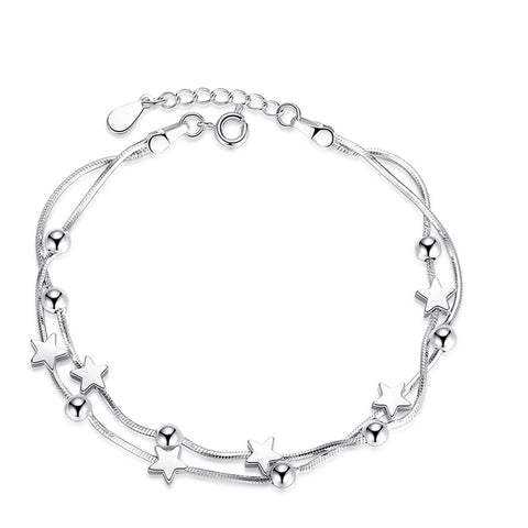 XIYANIKE Classic Five-pointed Square Round Beads Silver 925 Bracelets For Women New Arrival Charm Bracelets & Bangles VBS4084