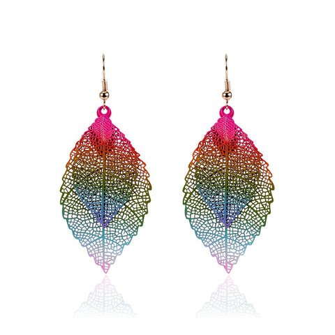 LZHLQ Vintage Leaves Earrings Luxury Boho Bohemian Leaf Dangle Earrings Hollow Out Earrings For Women New Fashion Jewelry
