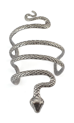 European Gypsy Vintage Silver Evil Snake Open Bangle Cuff Fashion Punk Tibetan Armlet Bracelets Bangles For Women Men Jewelry