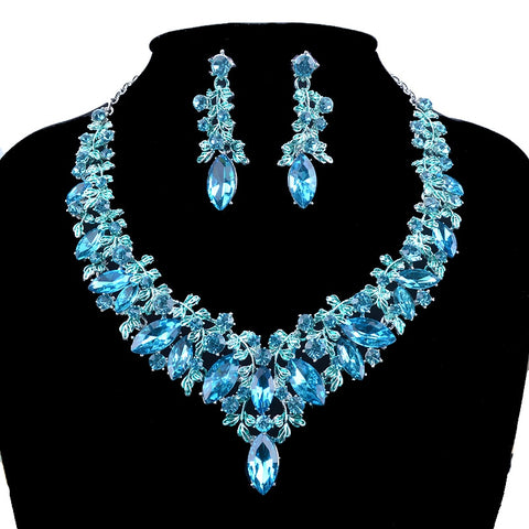 Fashion blue Color Delicate Bridal party jewelry sets marquise glass lake blue necklace and earrings women dress jewelry
