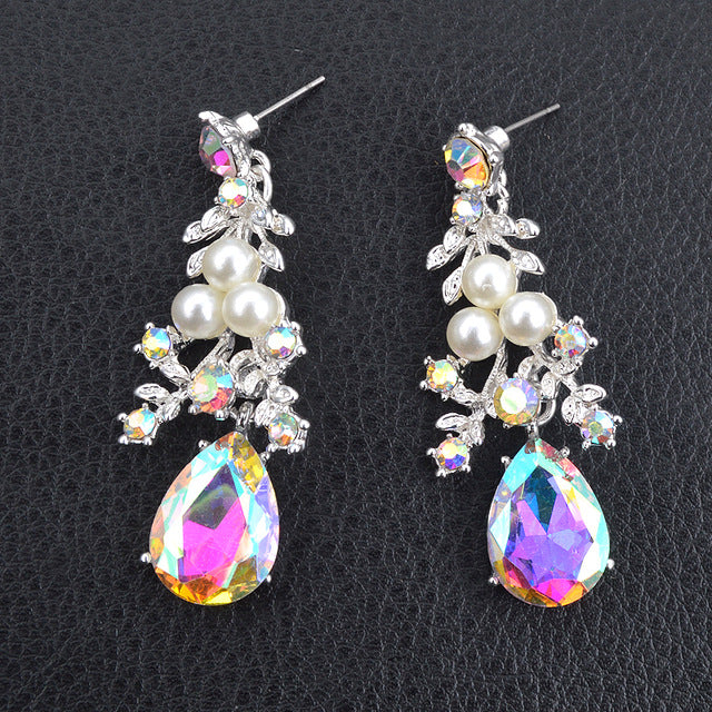 6f1cef1998 Delicate Shining AB crystal and pearl Jewelry sets For women wedding Dress  necklace earrings Bridal party jewellery accessories