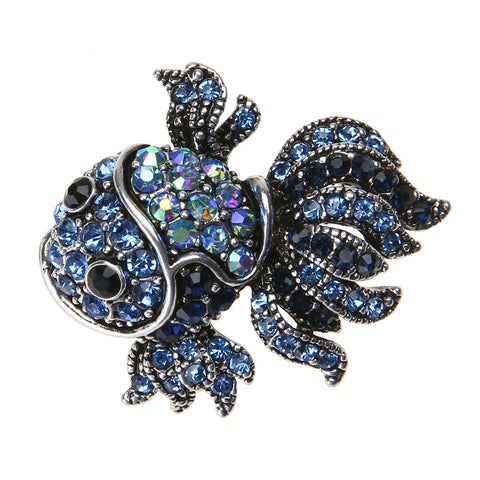 Fashion Vintage Cute Blue Crystal Fish Brooches Pin Women Men's Animal Shinny Goldfish Brooch for Women Valentine's Day Gift