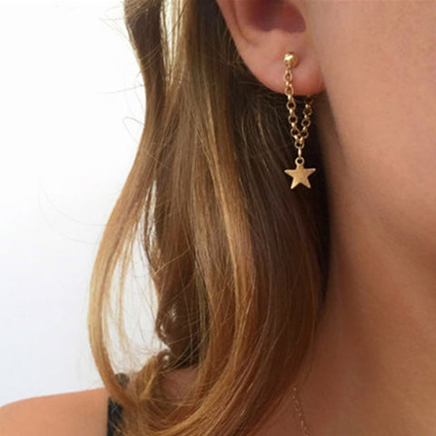 New jewelry accessories gold color star design chain angle earring best gift for the girl lover wholesale e0465