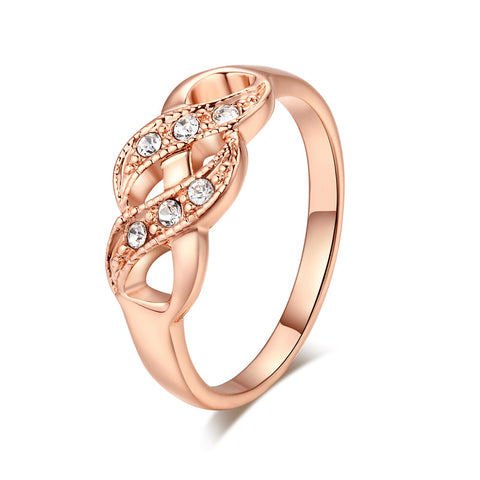 Vintage Rose Gold 585 Color Zircon Jewelry Rings For Women Wedding Ring Anillos Bague Anel Feminino Aros QK004