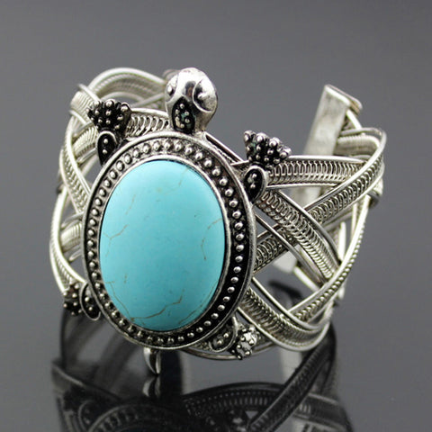 Trendy Tibetan Bohemian jewelry men Vintage silver cuff bracelet bangle women jewelry Halloween gift sl-033