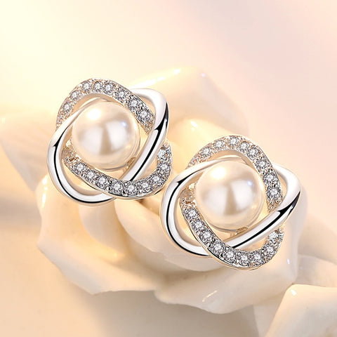 100% 925 silver shiny crystal imitation pearl flower ladies`stud earrings women jewelry female gift cheap