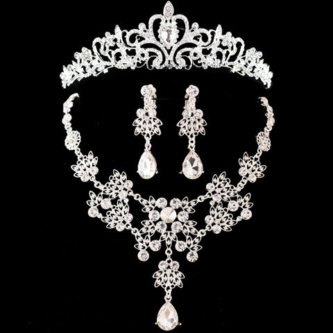 Hot Sale Noble Crystal Bridal Jewelry Sets Hotsale Silver Fashion Wedding Jewelry Tiara Necklace Earrings for Brides Bridesmaids