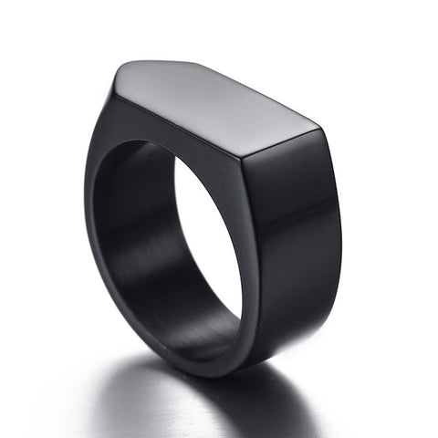New Fashion Rings Classic Geometric Punk Ring Size 8-12 Titanium Stainless Steel Gold Silver Black Color Men Ring Jewelry