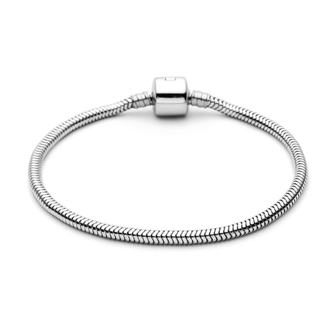 European Clasp Snake Chain Bracelet Bangles Women Stainless Steel Bracelet fit European Beads Charms High Quality B452