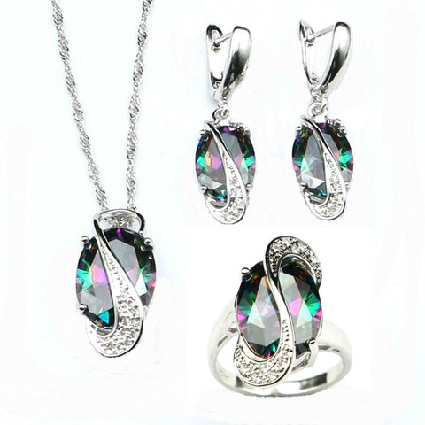 Mystic Rainbow Cubic Zirconia Jewelry Sets 925 Silver Bridal Jewelry For Women Wedding Necklace/Earrings/Pendant/Ring
