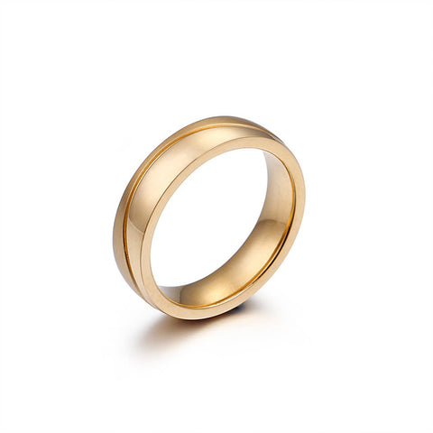 Gold Color Alliance Ring Highly Polished Stainless Steel Wedding Ring Quality Plating Never Fade Couple Love Ring for Women Men