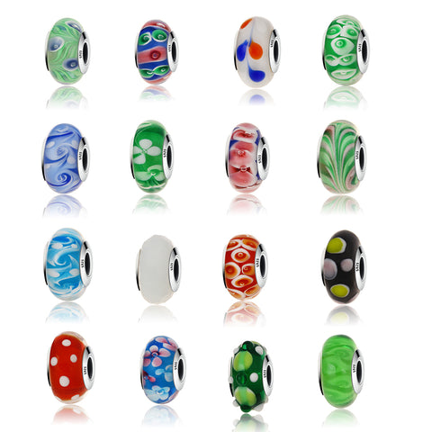 17 Styles Real 925 Silver Effervescence Murano Glass Beads Fits Charm Bracelet Jewelry Making DIY Gift
