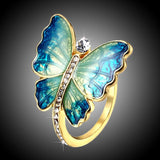 Fashion Crystal Circle Metal Printing Ring For Party Gold Color Animal Insect Butterfly Rings For Women Band Gift Girlfriend