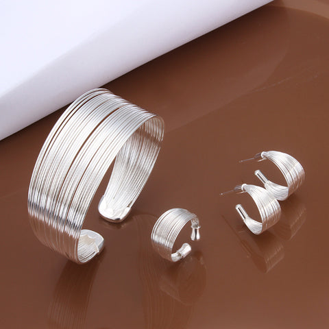 Factory Price Wholesale 925 Jewelry Silver Plated Lovely Jewelry Sets Bracelet Earrings Ring ping