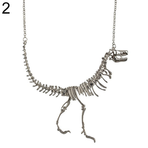 Men Women Uni Punk Dinosaur Bone Pendant Statement Alloy Chain Necklace