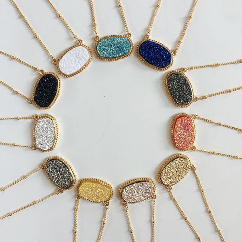 Popular Oval Blue Druzy Choker Necklace for Women Fashion Gold Chain Bohemian Chokers Statement Necklaces Pendants Jewelry