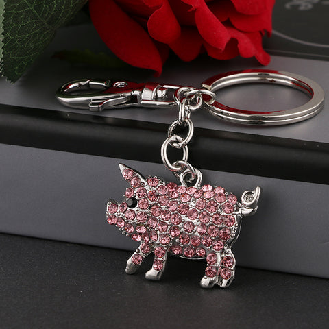 Pig Wings crystal rhinestone key chain holder