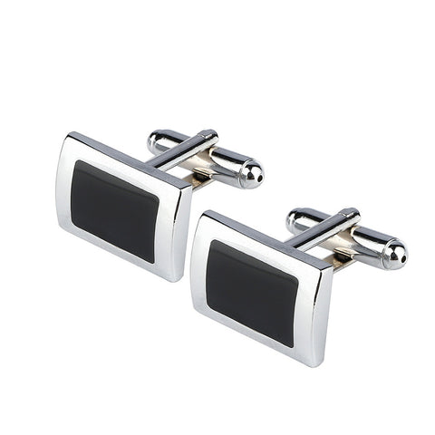 New Simple Style Black Rectangle Cufflinks Mens Shirt Cuff Button Christmas Gifts for Men Silver Plated Cuff link gemelos